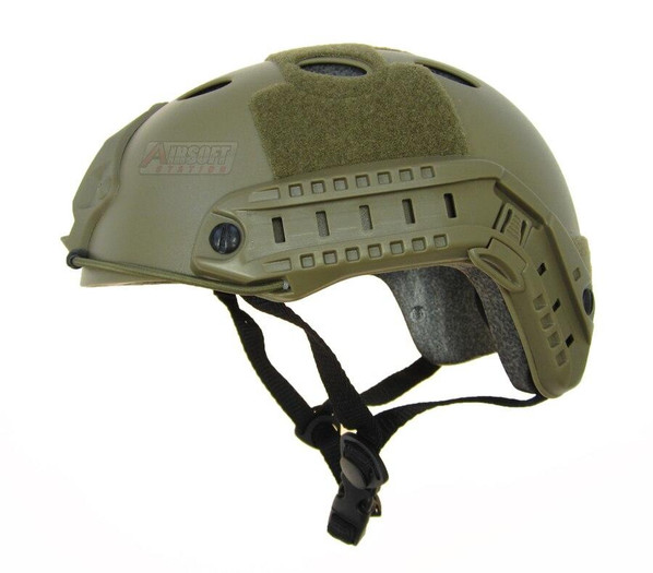 Raptors Airsoft RTV PJ Tactical Airsoft SpecOps Military Style Helmet with Rails, Dark Earth Brown