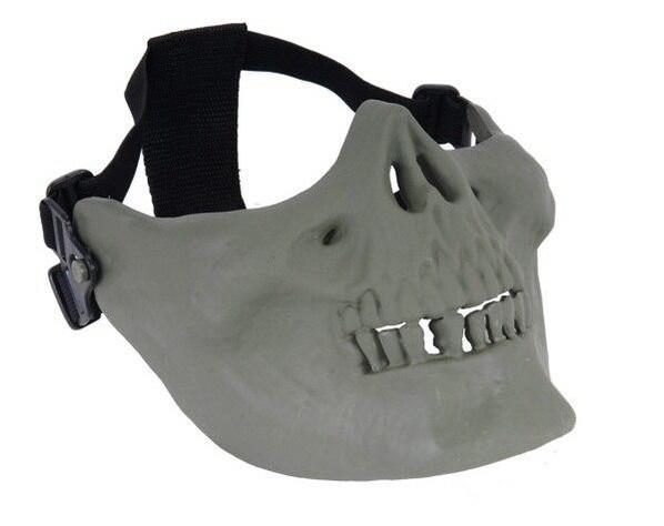 Skull Half Face Mask, Green