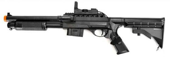 Airsoft Spring Shotgun with Red Laser Sight and Flashlight