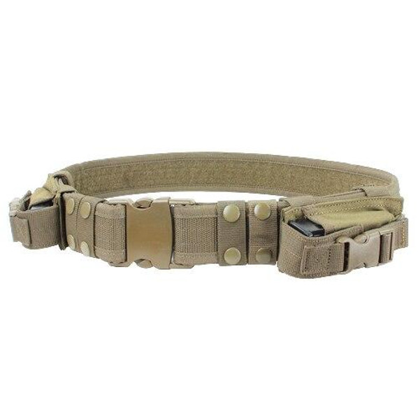 Condor Tactical Belt with Dual Pistol Mag Pouches, Tan