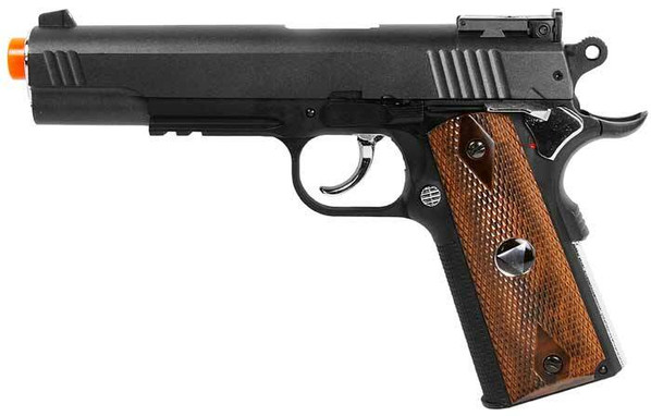 TSD Sports M1911 Tac Pistol Heavy Weight, Black with Wood Colored Handle