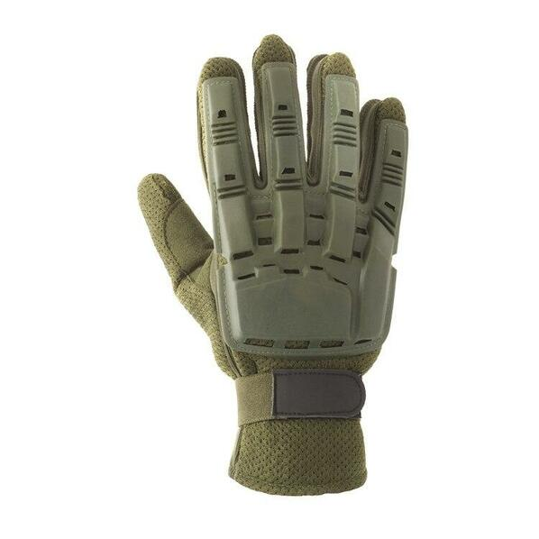 V-Tac Full Finger Plastic Back Airsoft Gloves, OD Green