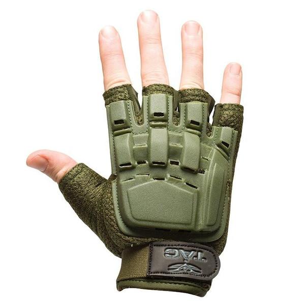 V-Tac Half Finger Armored Gloves, OD Green