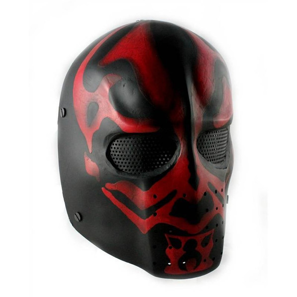 Army of Two FMA Elliot DMF Airsoft Mask, Stamped Steel Mesh, Red/Black