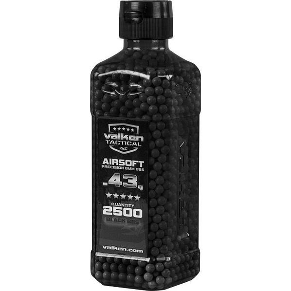 Valken Tactical 0.43g BBs, 2500 Rounds, Bottle, Black