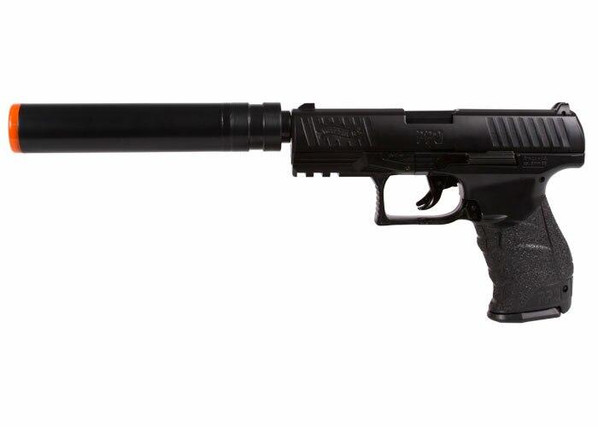 Walther PPQ Combat Airsoft Spring Pistol Kit with Fake Silencer and Extra Magazines and BBs