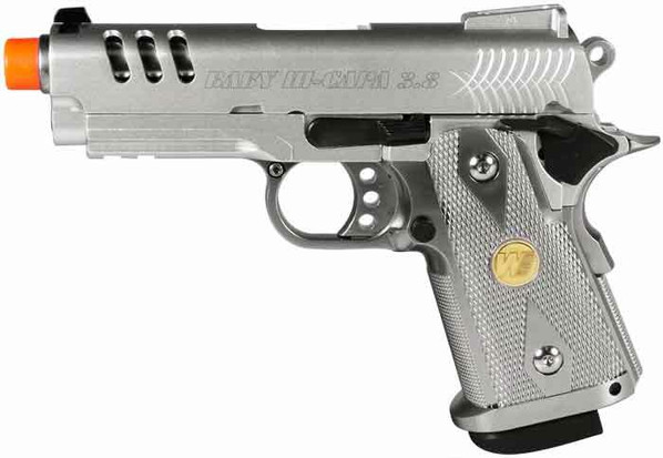 WE Baby Hi-Capa 3.8 Gas Blowback Silver Slot Airsoft Pistol
