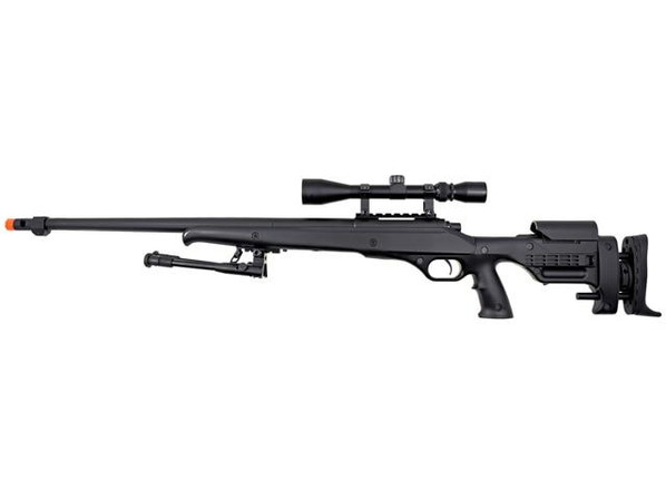 Well MB12 Heavy Weight Bolt Action Airsoft Sniper Rifle w/ Scope and Bipod, Black