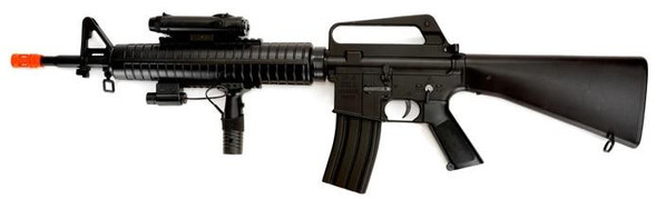 Well M16A3 Spring Powered Airsoft Rifle w/ Laser and Flashlight