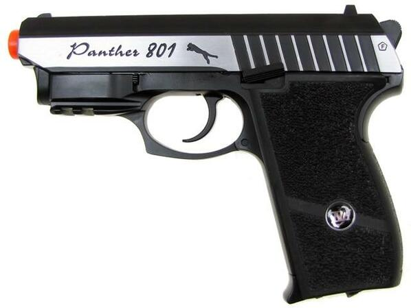 WG Panther 801 CO2 Airsoft Pistol, Full Metal Blowback, Black/Silver with Laser
