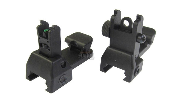 Set of Front and Rear Flip-Up Sights by ASG, Fiber Optic