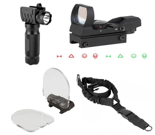 Ultimate AEG Accessory Kit by AIM Sports w/ Warfare Dot Sight, Tac Light Foregrip, Sling and Lens Protector