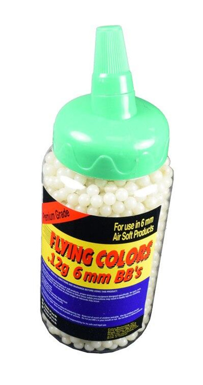 Flying Colors 0.12g Glow In The Dark BBs, 2000 Round Bottle