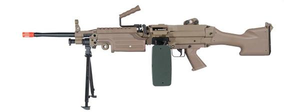 AandK M249 MKII AEG Airsoft SAW with Bipod and Box Magazine, Tan