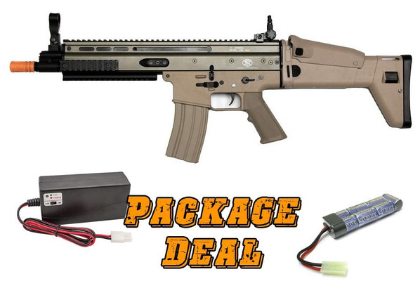 Classic Army FN SCAR-L Sportline Airsoft Rifle, Combo Package w/ Battery and Charger, Tan
