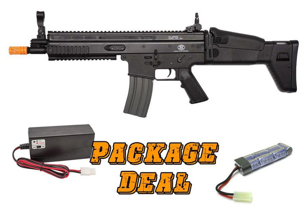 Classic Army FN SCAR-L Sportline Airsoft Rifle, Combo Package w/ Battery and Charger, Black