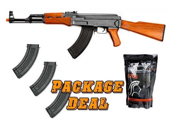 Lancer Tactical AK47 AEG Combo Kit w/ 3 Extra Mags and 4,000 BBs