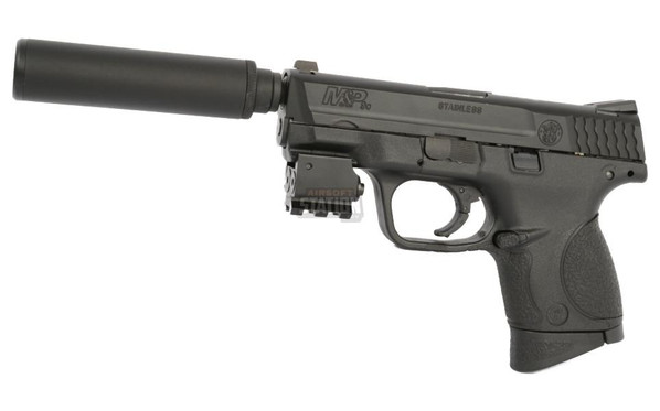 Smith and Wesson MandP 9C Compact Gas Blowback Pistol, Combo Edition w/ Mock Suppressor, Tac Laser, and Pistol Case