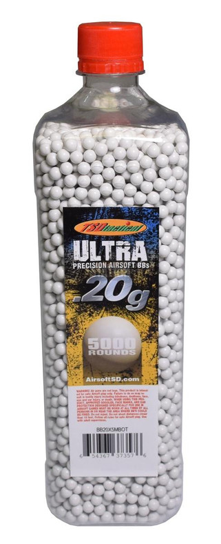 TSD Competition Grade 6mm plastic airsoft BBs, 0.20g, 5000 rds, white, bottle