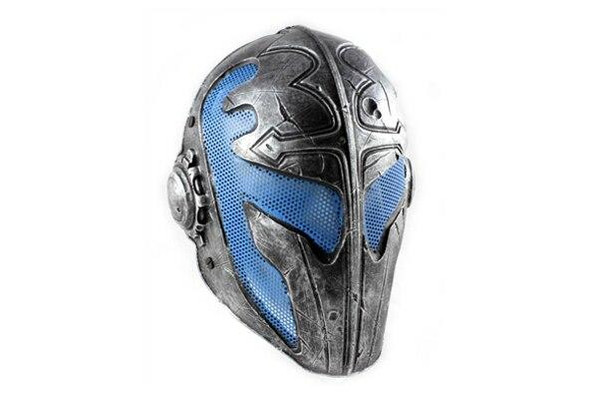 Army of Two Airsoft Mask A FMA Wire Mesh Templar Mask Nickel and Blue Stamped Steel Eyes