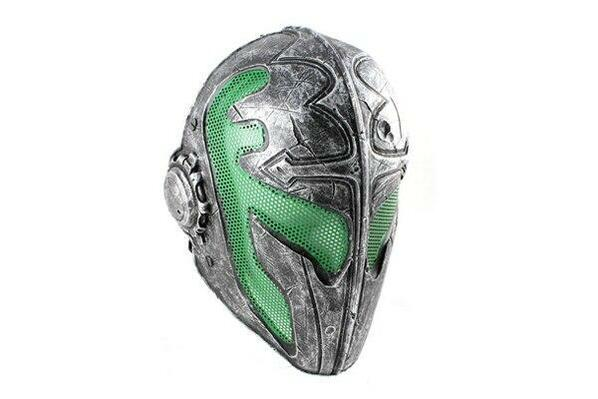 Army of Two Airsoft Mask A FMA Wire Mesh Templar Mask Nickel and Green Stamped Steel Eyes