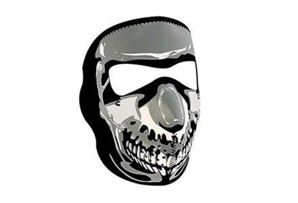 Zan Headgear Tactical Full Mask Neoprene Chrome Skull Airsoft