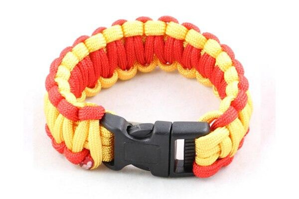 Paracord Large Survival Bracelet Red and Yellow Military Airsoft Paintball Cobra Weave
