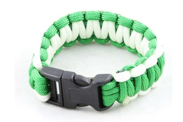 Paracord Large Survival Bracelet Green and White Military Airsoft Paintball Cobra Weave