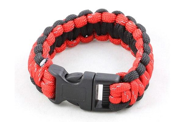 Paracord Large Survival Bracelet Red and Black Military Airsoft Paintball Cobra Weave