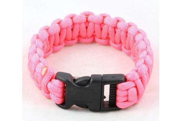 Paracord Small Survival Bracelet Pink Military Airsoft Paintball Cobra Weave