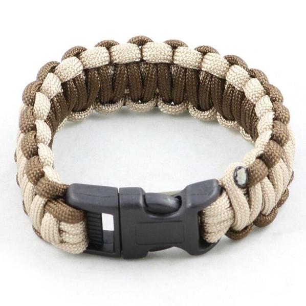 Paracord Large Survival Bracelet Tan and Brown Military Airsoft Paintball Cobra Weave