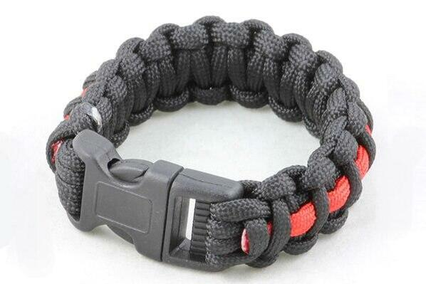 Paracord Small Survival Bracelet Black and Red Primarily Black Military Airsoft Paintball Cobra Weave
