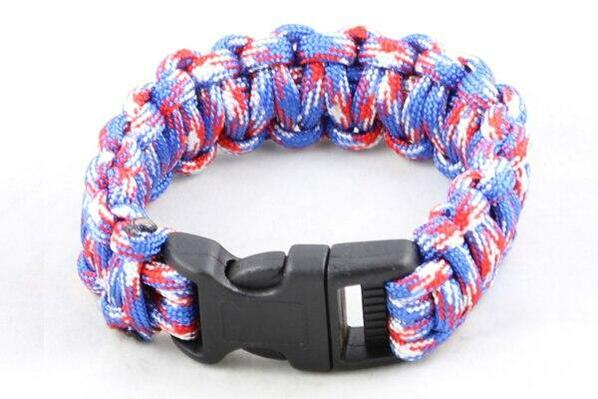 Paracord Large Survival Bracelet Red White and Blue Military Airsoft Paintball Cobra Weave