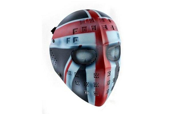 Airsoft Full Face Mask British Flag Hockey Killer Mask Steel Stamped Eyes