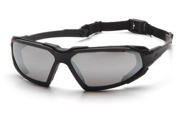 Pyramex Highlander Airsoft Goggles Silver Mirror Anti-Fog Lens Black Frame Glasses Lenses