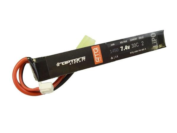 Raptors Airsoft RTQ 7.4v 1450 mAh 30C Stick LiPO Battery
