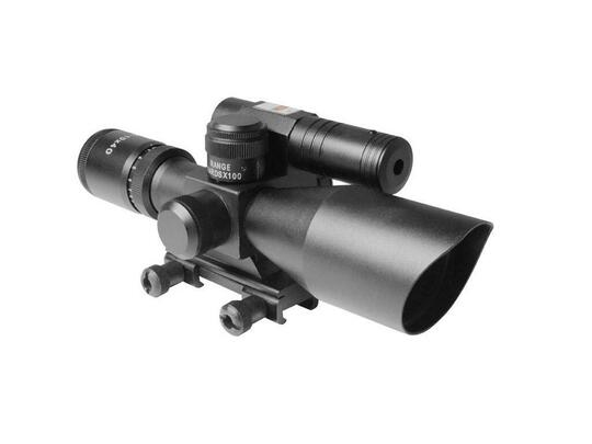 AIM Sports Titan 2.5-10x 40mm Scope with Red/Green Reticle, Green Laser, and Bullet Drop Compensator