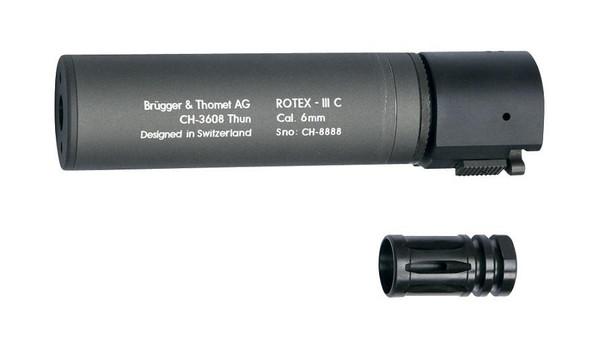 BandT ROTEX III C Metal QD Barrel Extension and Metal Flash Hider, Grey, 6.2