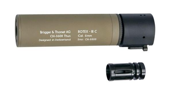 BandT ROTEX III C Metal QD Barrel Extension and Metal Flash Hider, Tan, 6.2