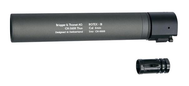 BandT ROTEX III Metal QD Barrel Extension and Metal Flash Hider, Grey, 8.9