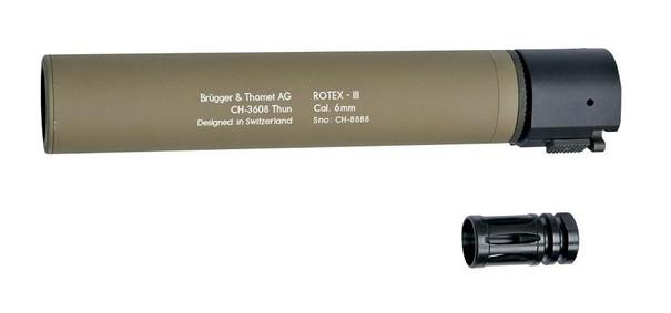 BandT ROTEX III Metal QD Barrel Extension and Metal Flash Hider, Tan, 8.9