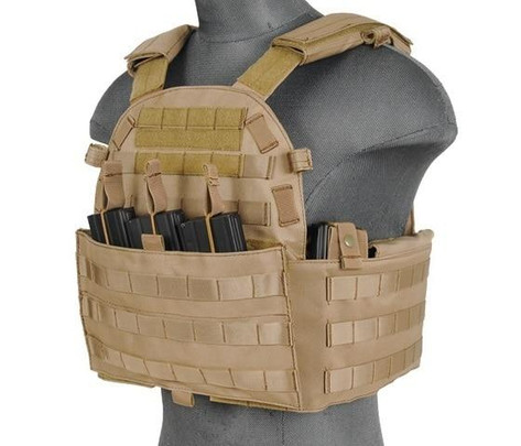 Lancer Tactical 6094 Plate Carrier w/ Triple Inner Mag Pouch, Tan