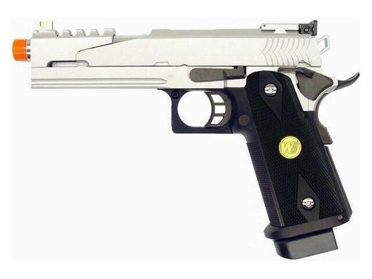 WE Hi-Capa 5.1 V4 Full Metal Semi Auto Gas/CO2 Blowback Pistol - Silver Edition