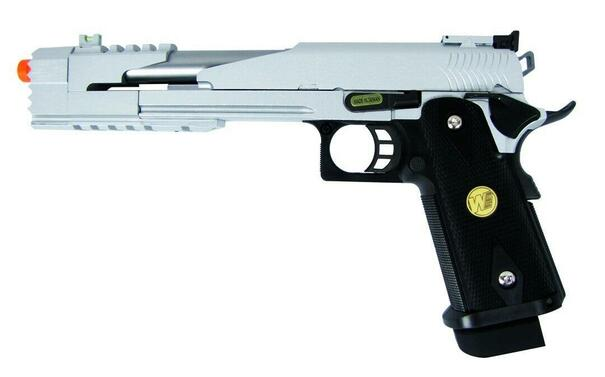 WE Hi-Capa 7 Dragon Full Metal Semi Auto Gas/CO2 Compensated Blowback Pistol - Two Tone Silver/Black Edition