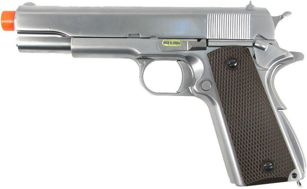 WE 1911 Full Metal Semi Auto Gas Blowback Pistol - Silver Edition