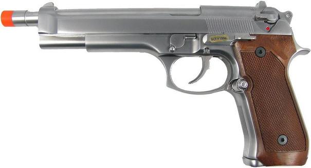 WE M92 Long Barreled Full Metal Semi Auto Gas/CO2 Blowback Pistol - Silver Edition