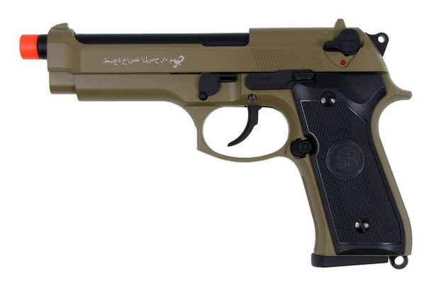SRC M9 Full Metal Semi Auto Gas/CO2 Blowback Pistol - Sahara Limited Tan Edition with Carry Case