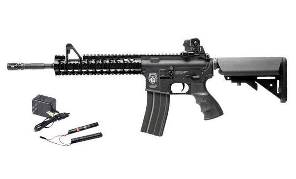 GandG CM16 Raider-XL Blowback AEG w/ 9.6v Battery and Charger, Black