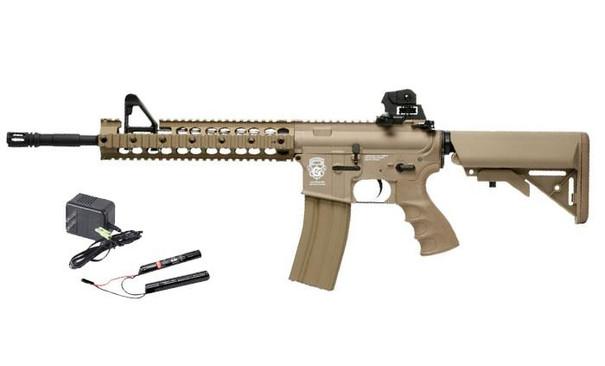 GandG CM16 Raider-XL Blowback AEG w/ 9.6v Battery and Charger, Tan