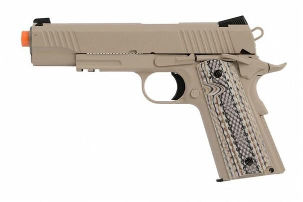 Colt 1911 M45A1 CO2 Rail Gun Blowback Airsoft Pistol, Tan